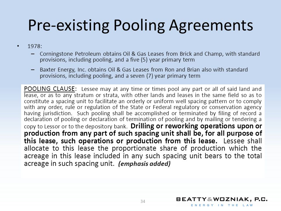 Pre-existing Pooling Agreements