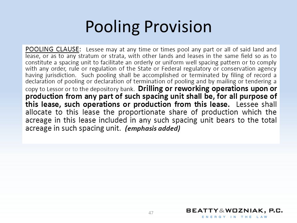 Pooling Provision
