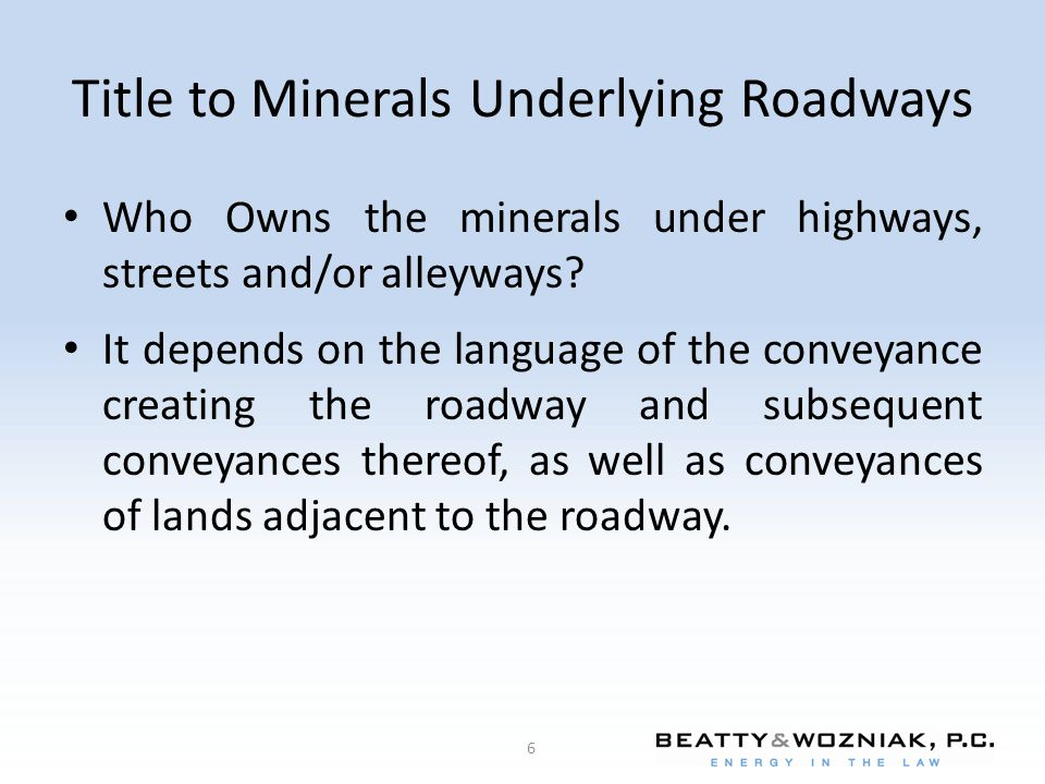 Title to Minerals Underlying Roadways