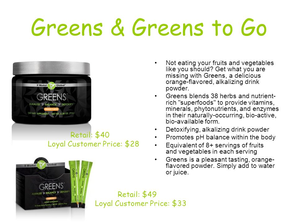Greens & Greens to Go Retail: $40 Loyal Customer Price: $28