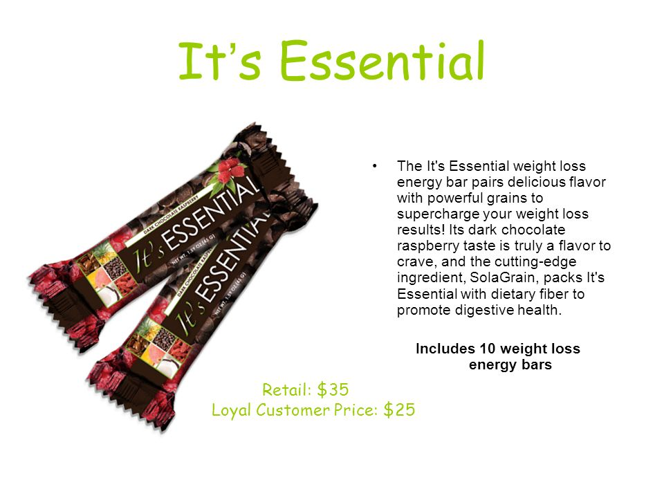 Includes 10 weight loss energy bars