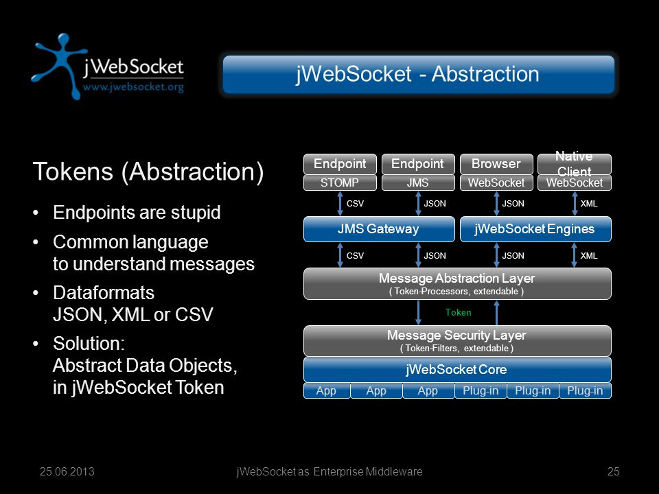 Tokens (Abstraction) jWebSocket - Abstraction Endpoints are stupid