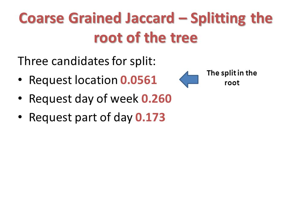Coarse Grained Jaccard – Splitting the root of the tree