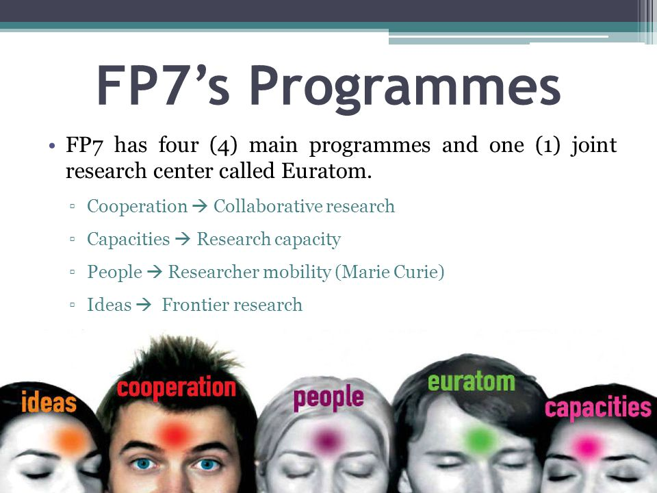 FP7's Programmes FP7 has four (4) main programmes and one (1) joint research center called Euratom.