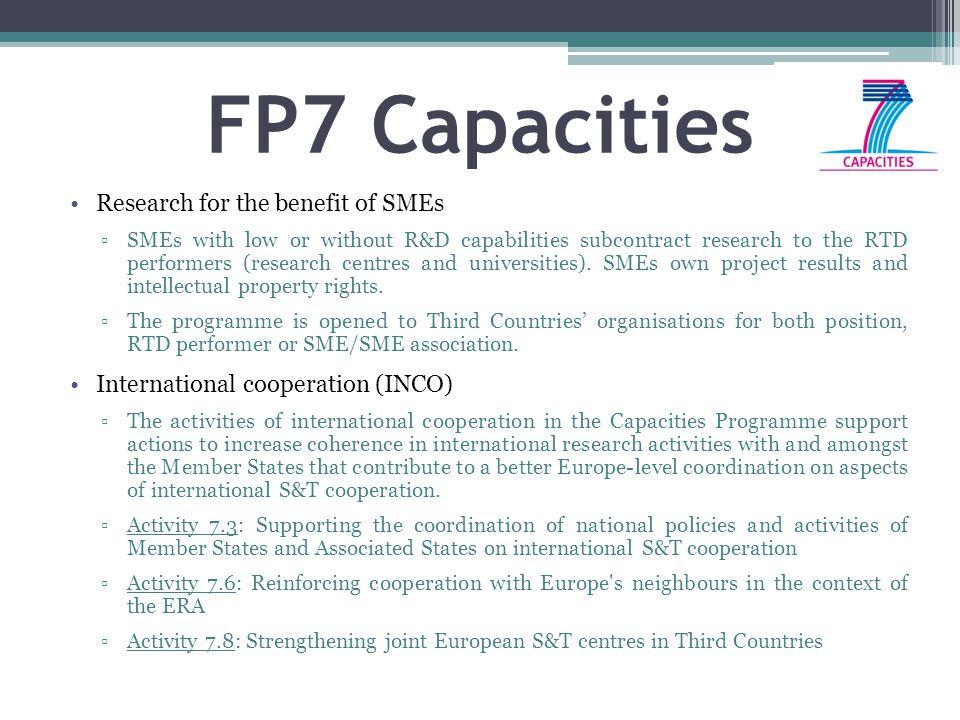 FP7 Capacities Research for the benefit of SMEs