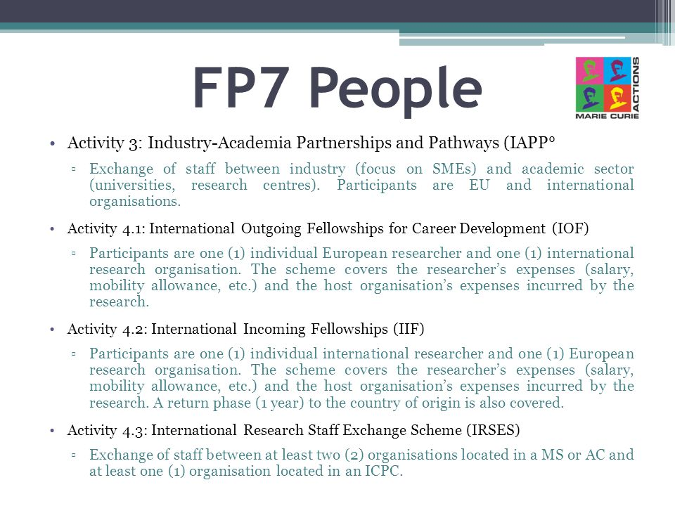 FP7 People Activity 3: Industry-Academia Partnerships and Pathways (IAPP°
