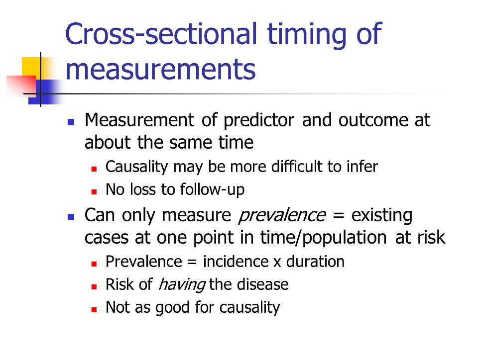 Cross-sectional timing of measurements