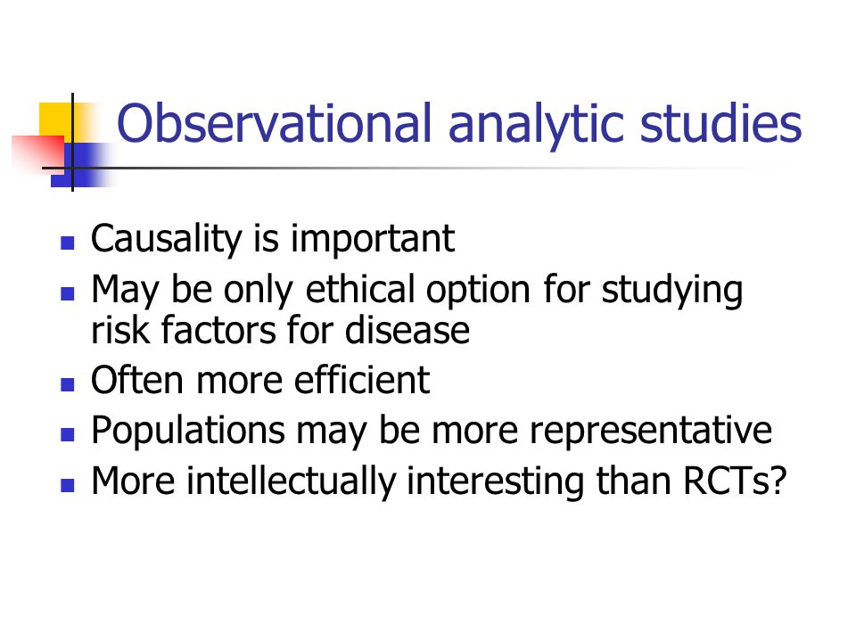 Observational analytic studies