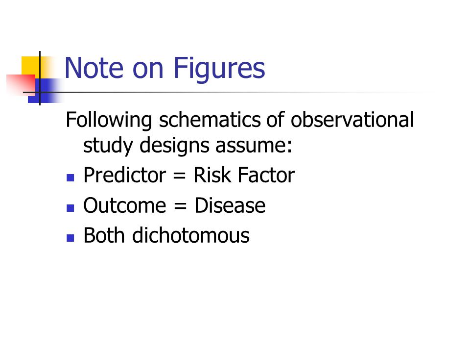 Note on Figures Following schematics of observational study designs assume: Predictor = Risk Factor.