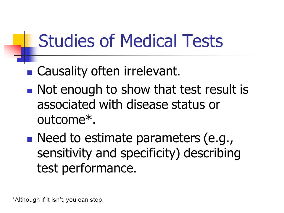 Studies of Medical Tests