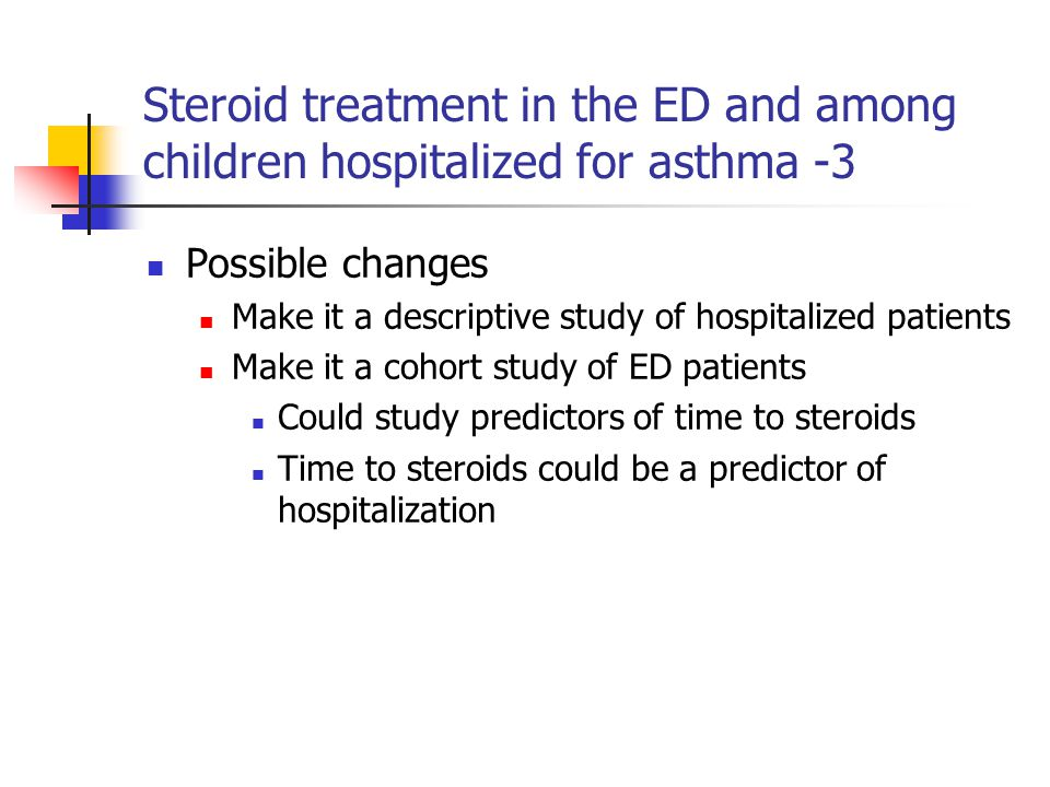 Steroid treatment in the ED and among children hospitalized for asthma -3