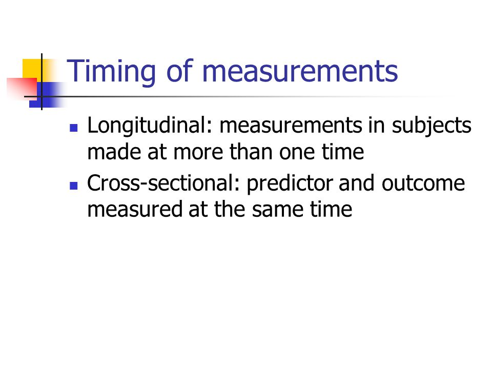 Timing of measurements