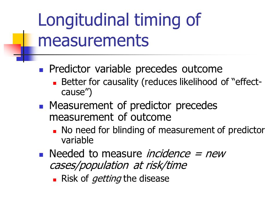Longitudinal timing of measurements