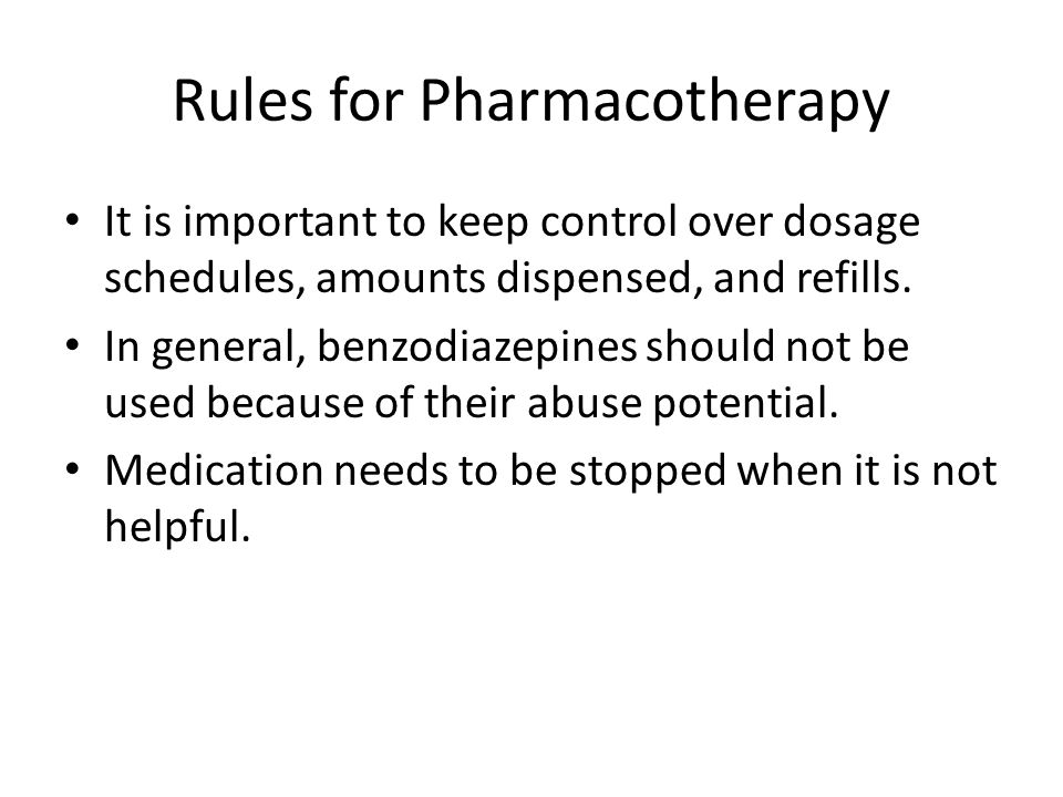 Rules for Pharmacotherapy