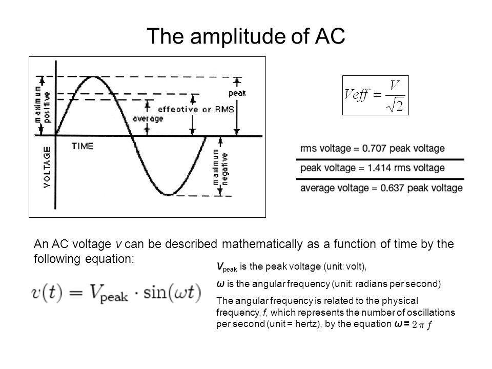 The amplitude of AC An AC voltage v can be described mathematically as a function of time by the following equation: