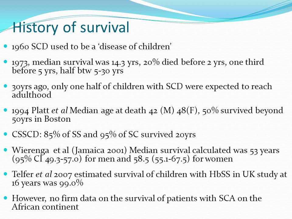 History of survival 1960 SCD used to be a 'disease of children'