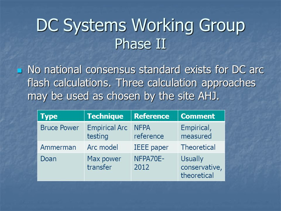 DC Systems Working Group Phase II