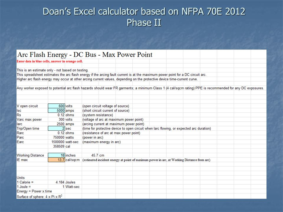 Doan's Excel calculator based on NFPA 70E 2012 Phase II