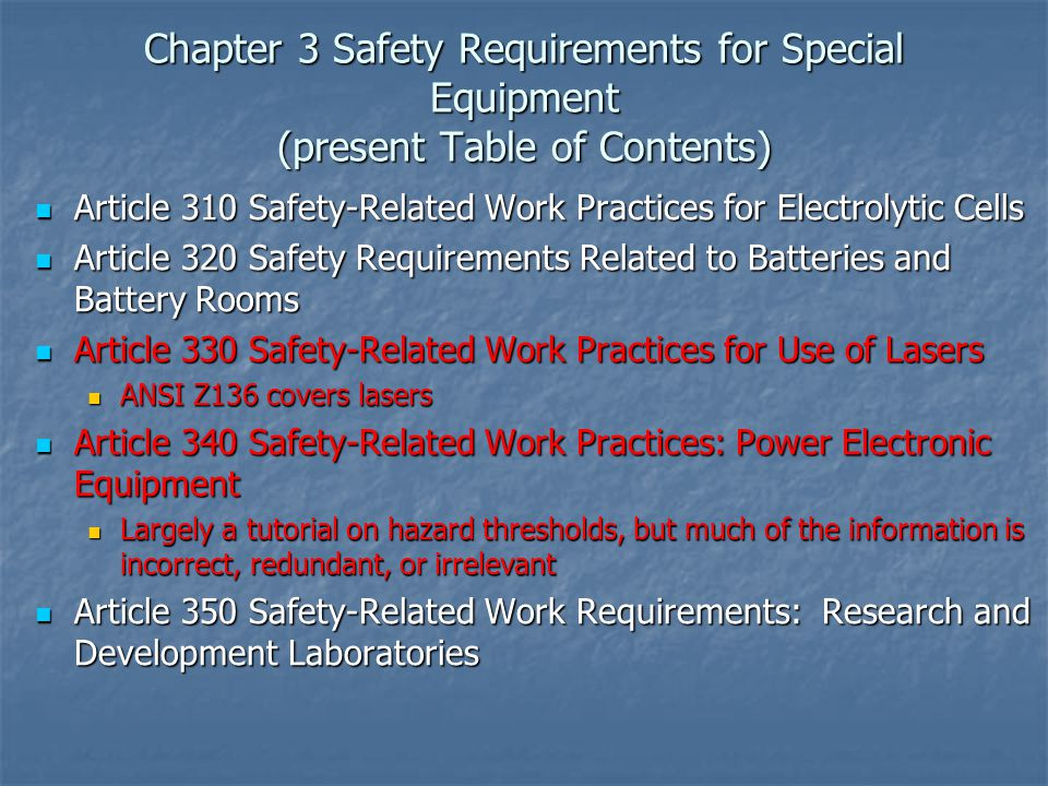 Chapter 3 Safety Requirements for Special Equipment (present Table of Contents)