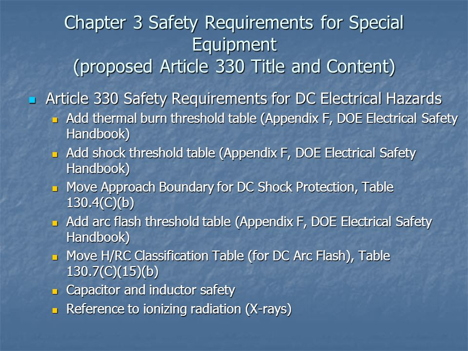 Chapter 3 Safety Requirements for Special Equipment (proposed Article 330 Title and Content)