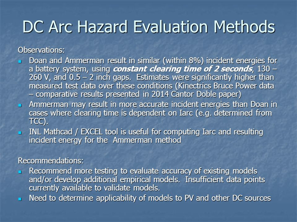 DC Arc Hazard Evaluation Methods