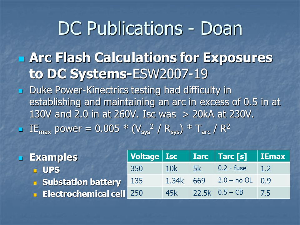 DC Publications - Doan Arc Flash Calculations for Exposures to DC Systems-ESW2007-19.