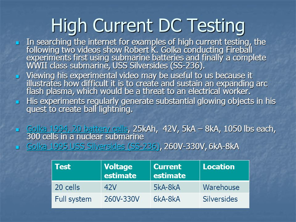 High Current DC Testing