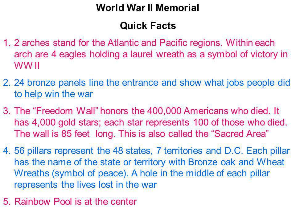 World War II Memorial Quick Facts