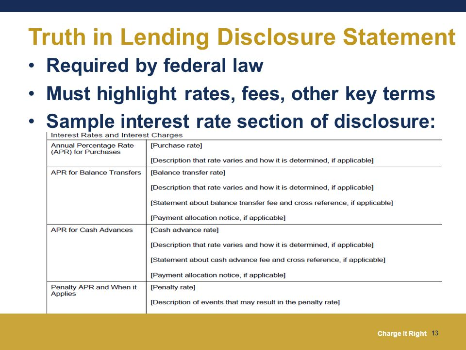 Truth in Lending Disclosure Statement