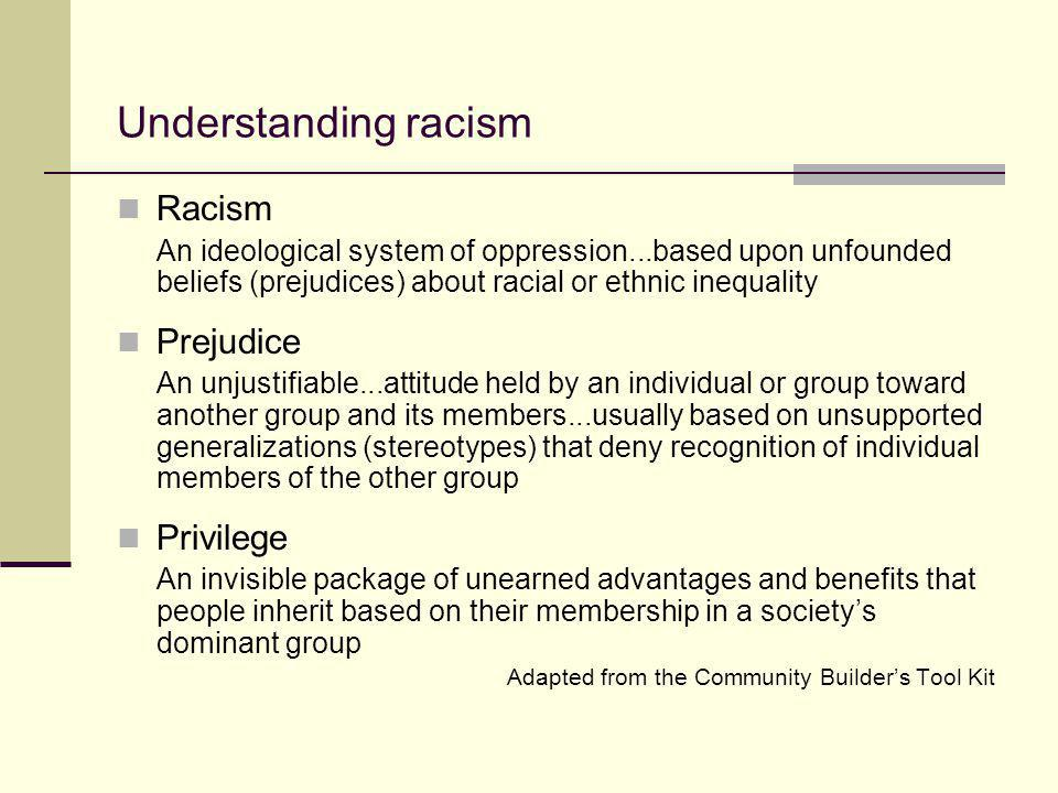 Understanding racism Racism Prejudice Privilege