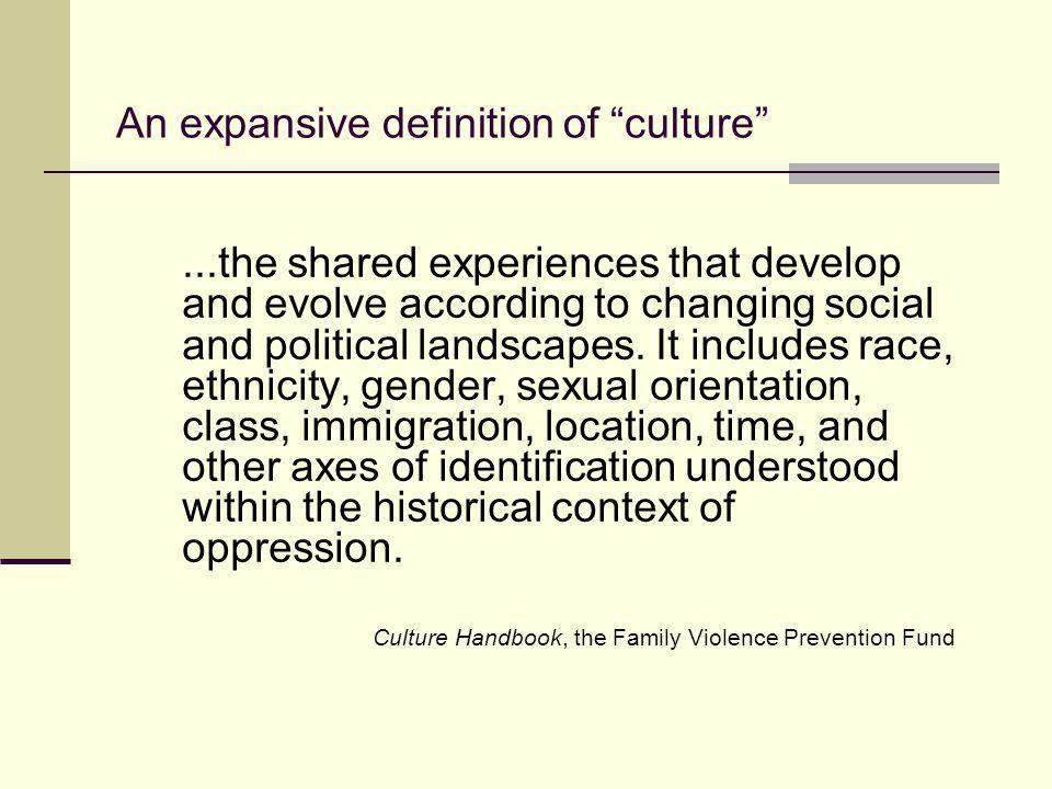 An expansive definition of culture