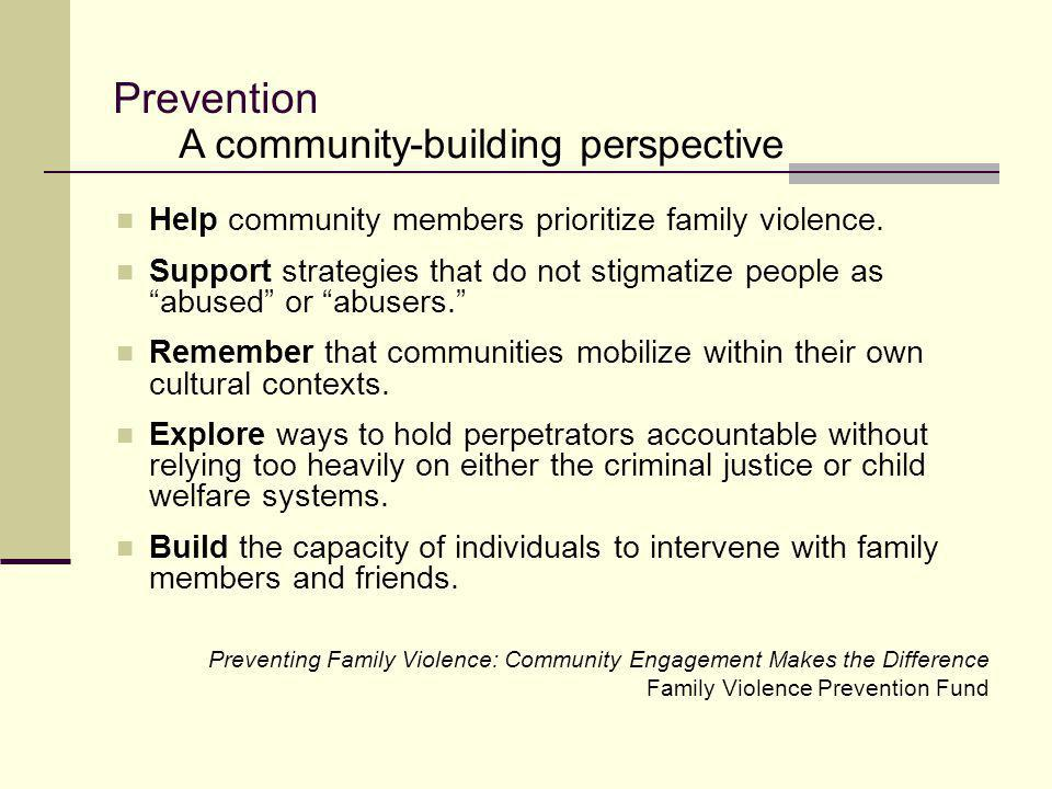 Prevention A community-building perspective