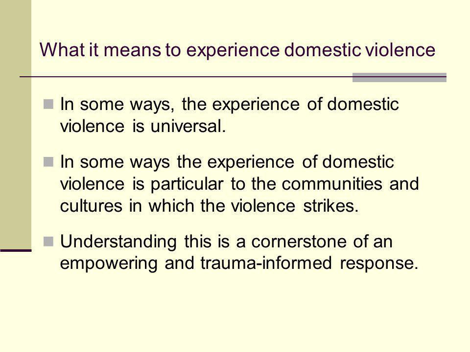 What it means to experience domestic violence