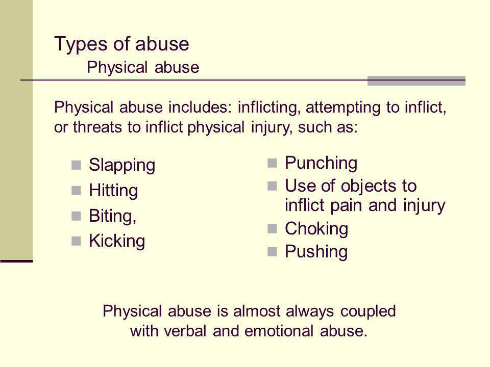 Types of abuse Slapping Hitting Biting, Kicking Punching