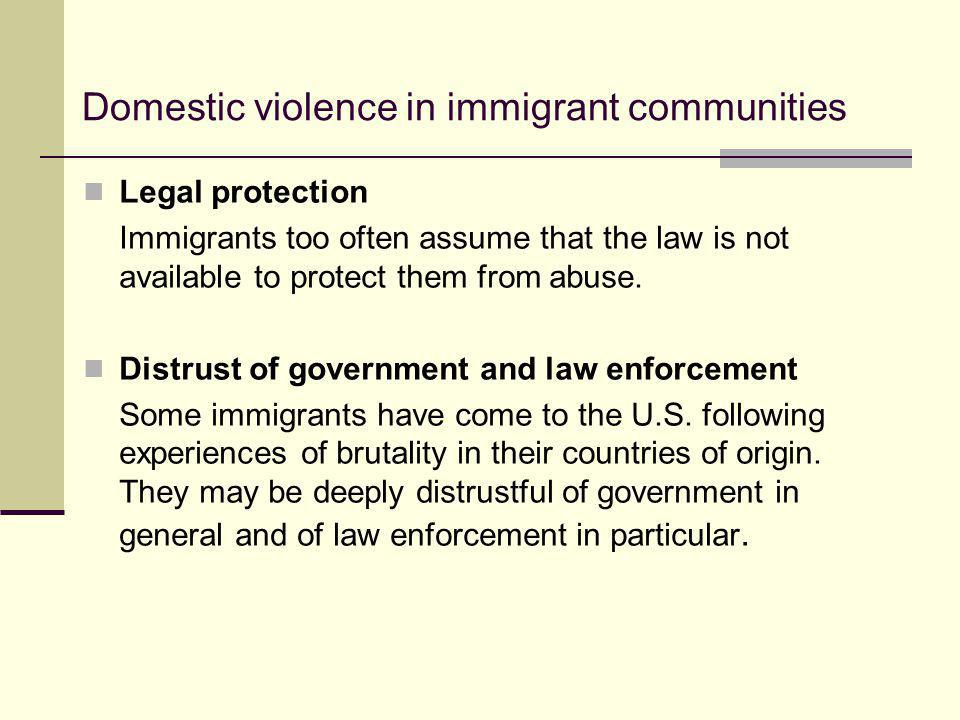 Domestic violence in immigrant communities