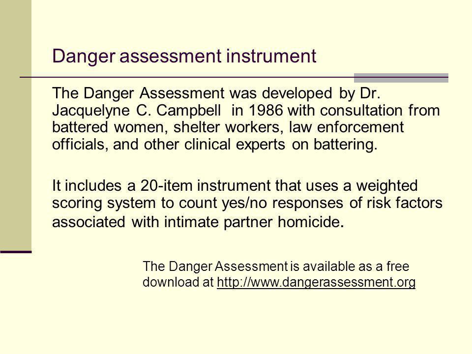 Danger assessment instrument