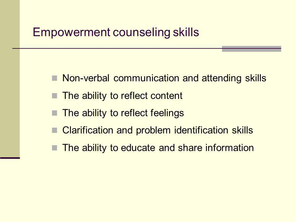 Empowerment counseling skills
