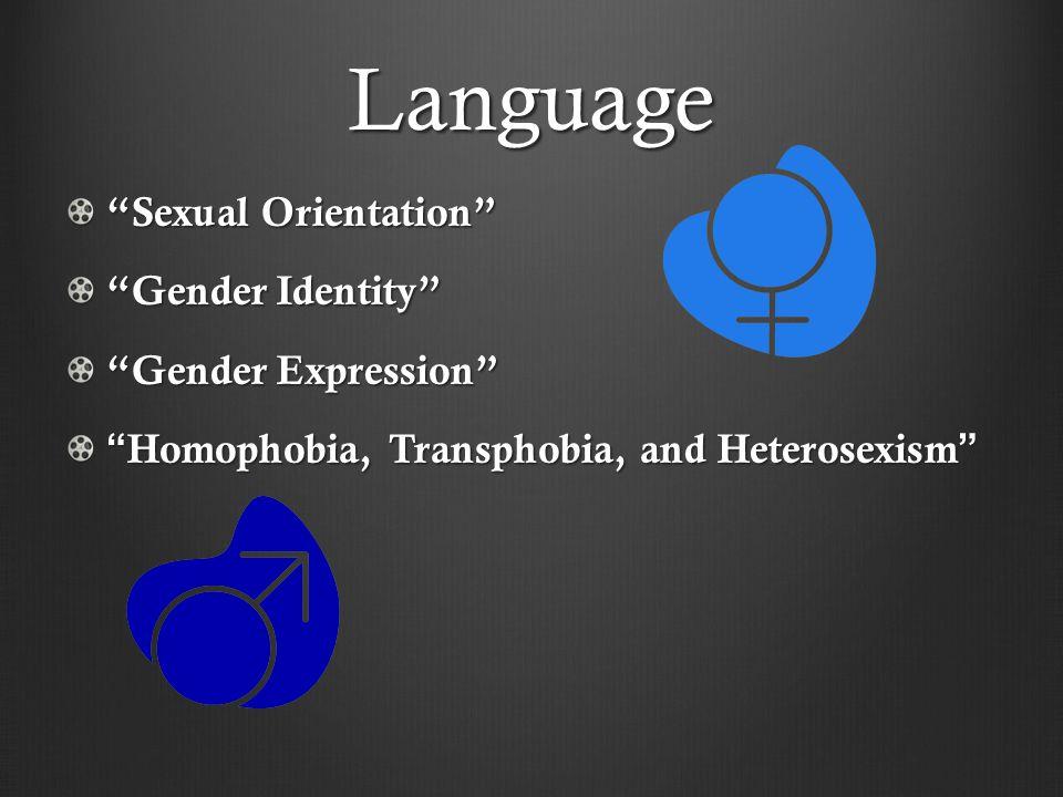 Language Sexual Orientation Gender Identity Gender Expression