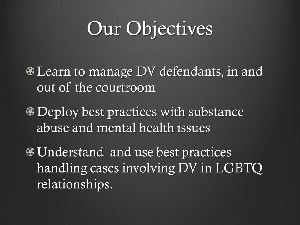 Our Objectives Learn to manage DV defendants, in and out of the courtroom. Deploy best practices with substance abuse and mental health issues.