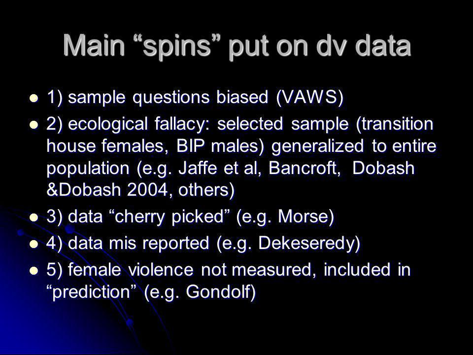 Main spins put on dv data