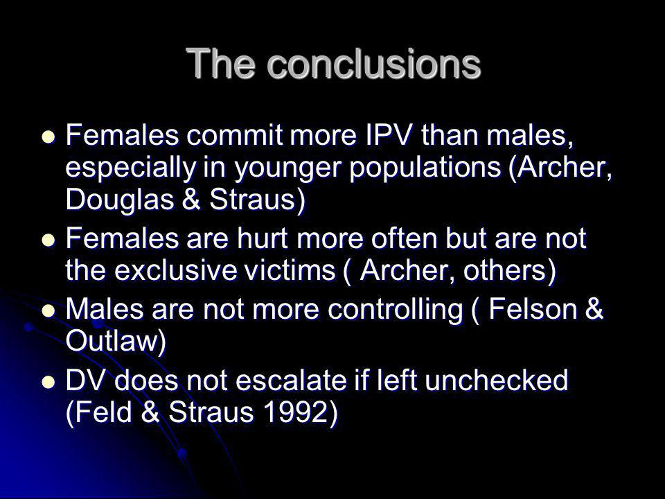 The conclusions Females commit more IPV than males, especially in younger populations (Archer, Douglas & Straus)