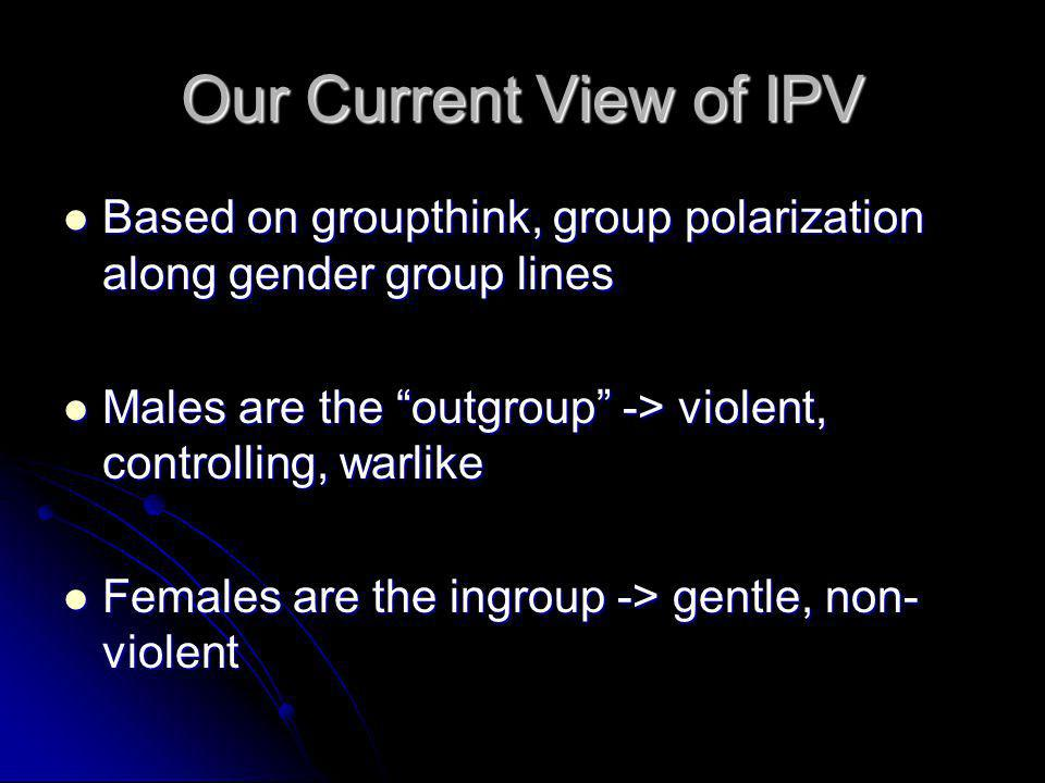 Our Current View of IPV Based on groupthink, group polarization along gender group lines. Males are the outgroup -> violent, controlling, warlike.