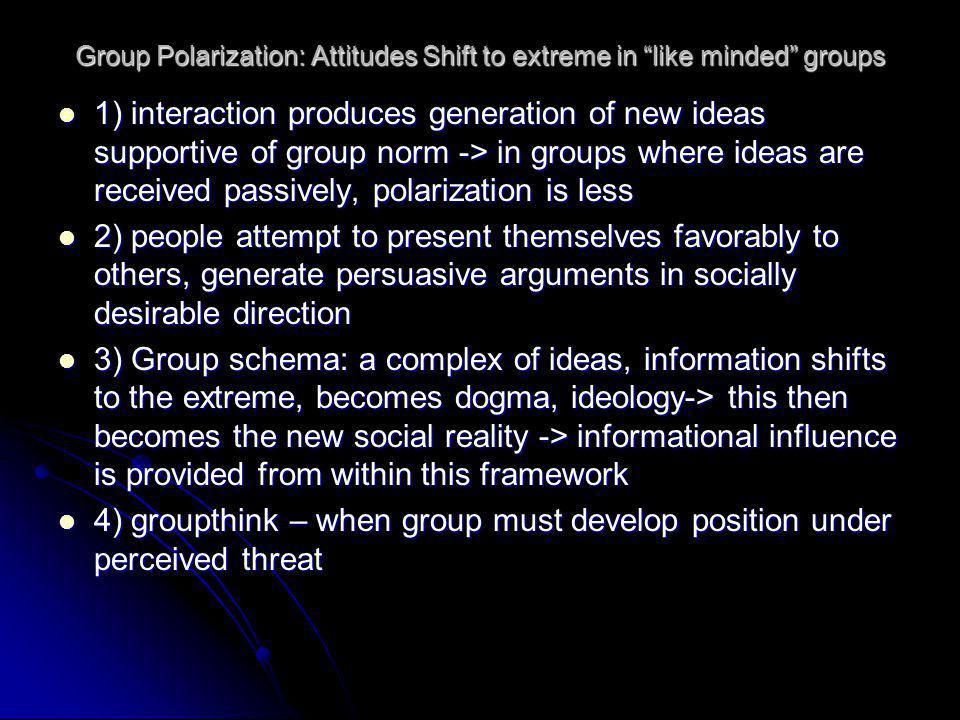 Group Polarization: Attitudes Shift to extreme in like minded groups