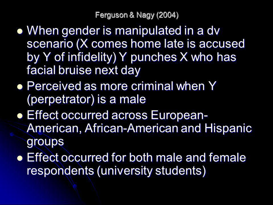 Perceived as more criminal when Y (perpetrator) is a male