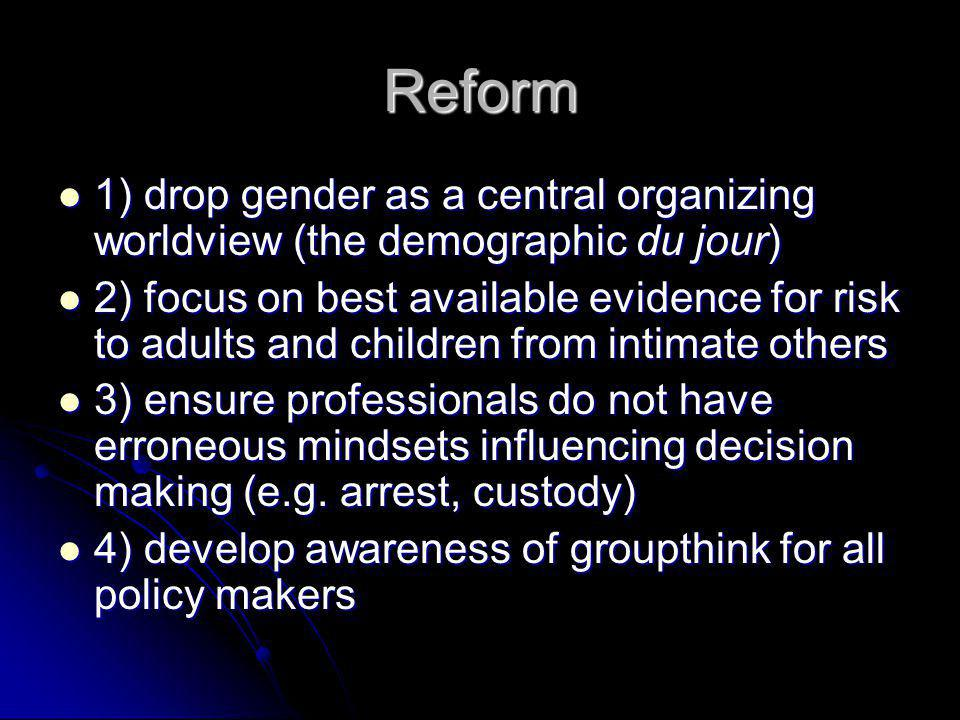 Reform 1) drop gender as a central organizing worldview (the demographic du jour)