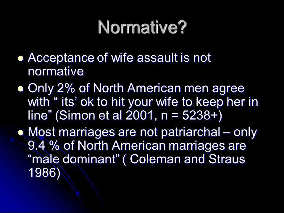 Normative Acceptance of wife assault is not normative