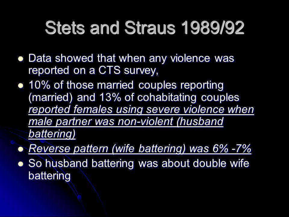 Stets and Straus 1989/92 Data showed that when any violence was reported on a CTS survey,