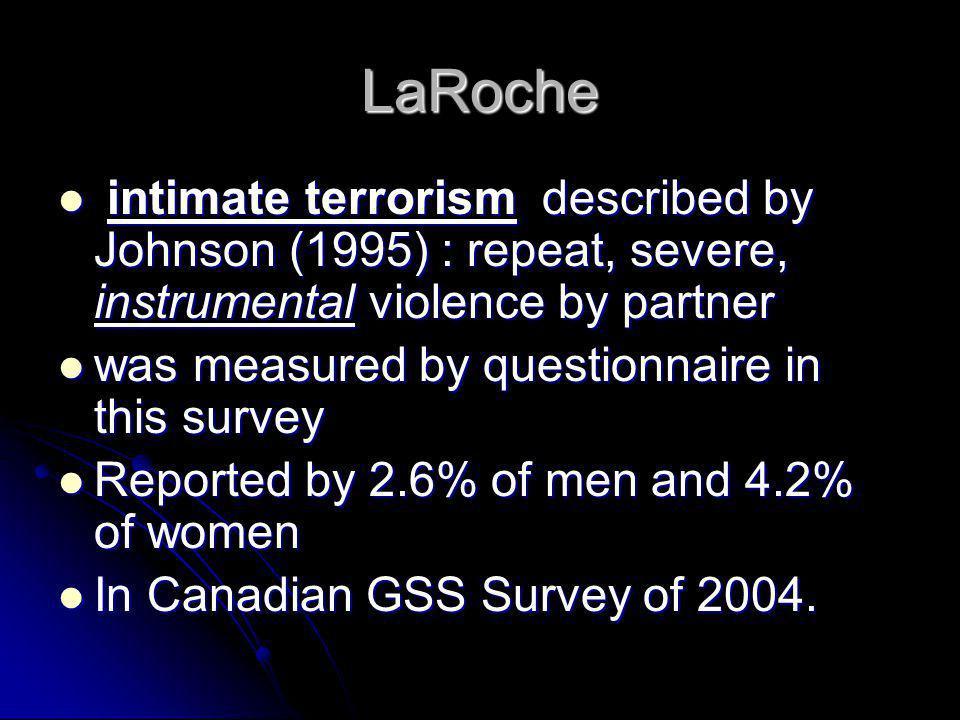 LaRoche intimate terrorism described by Johnson (1995) : repeat, severe, instrumental violence by partner.