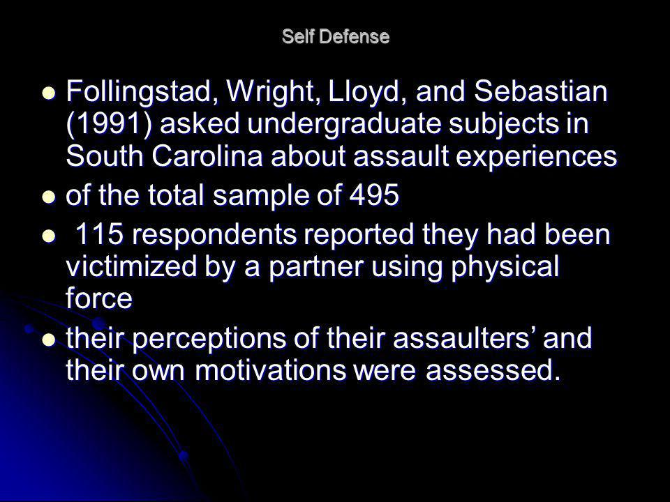 Self Defense Follingstad, Wright, Lloyd, and Sebastian (1991) asked undergraduate subjects in South Carolina about assault experiences.