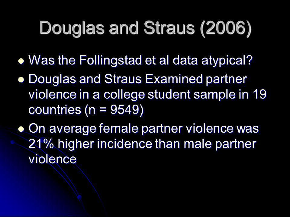 Douglas and Straus (2006) Was the Follingstad et al data atypical